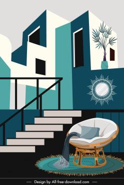 building architecture template contemporary decor flat design