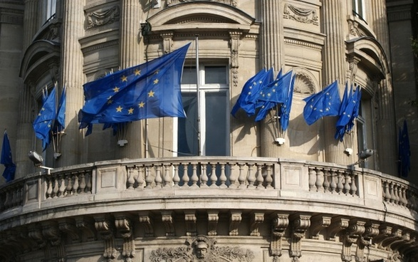 building european union flags balcony