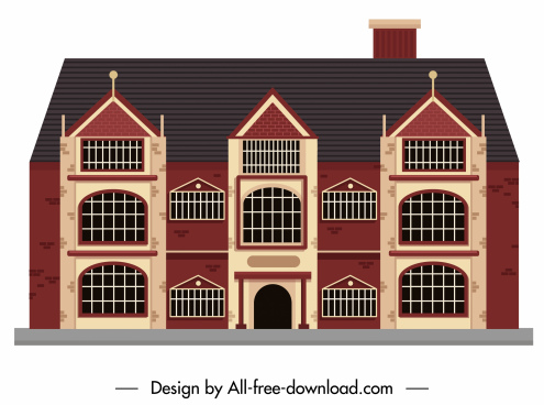 building exterior template classical european style flat sketch