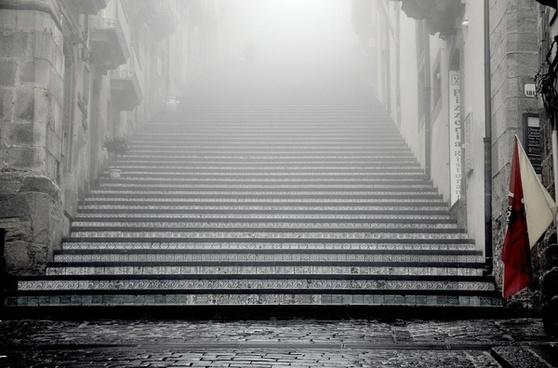 building flag fog home mist old pattern stair step