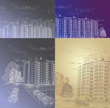 building line drawing vector artwork