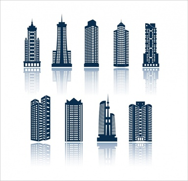 skyscraper building icons modern design