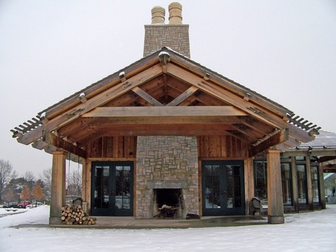 building with outdoor fireplace
