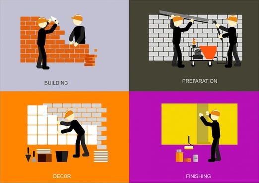 building work concepts illustration with various steps