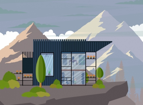 buildings exterior drawing mountain scene icon colored design