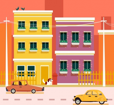 buildings facade background colorful cartoon design