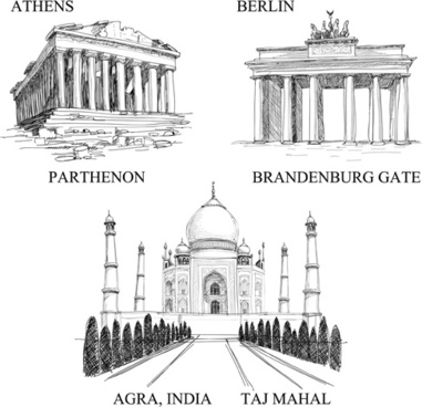 buildings for different countries design vector