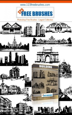 buildings free vector and photoshop brush