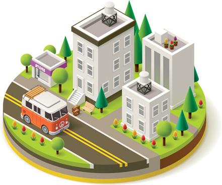 buildings model isometric vector