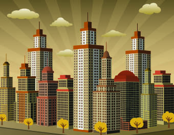 buildings with skyscrapers design vector