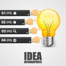 bulbs infographic idea template vector