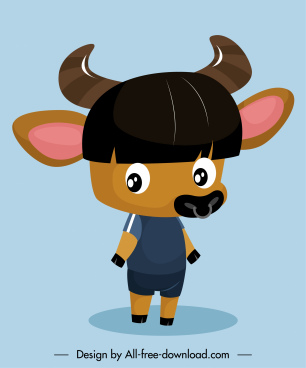 bull cartoon character icon cute stylized sketch