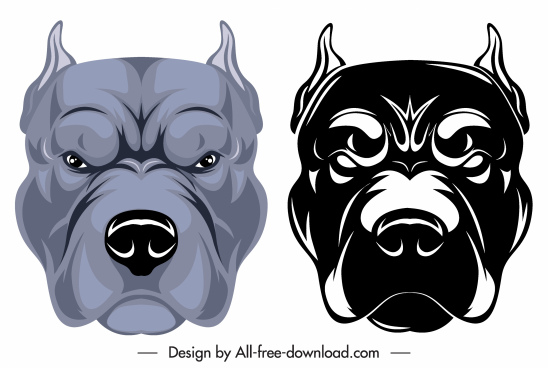 bulldog head icons colored black white sketch