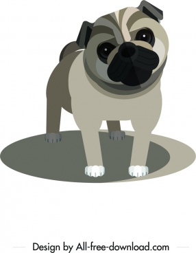 bulldog icon brown 3d sketch