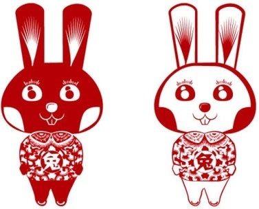 bunny icons cute classical oriental design