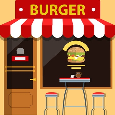 burger store facade design with food on window
