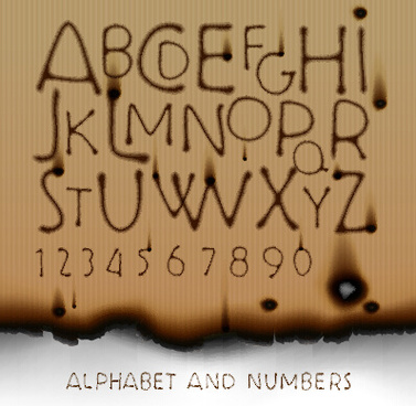 burn marks alphabet and numbers vectors