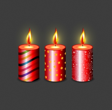burning candles background shiny 3d red vertical icons
