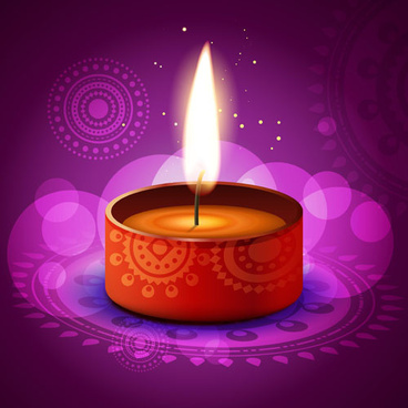 burning candles vector background art