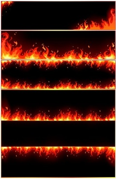 Burning flame frame vector