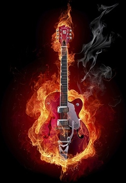 burning guitar picture