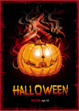 burning halloween pumpkin background vector