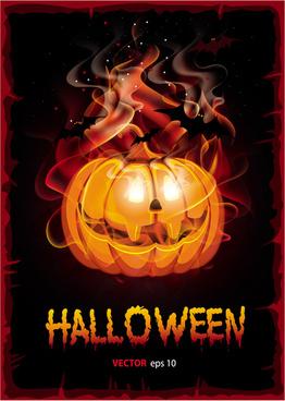 burning halloween pumpkin background vector