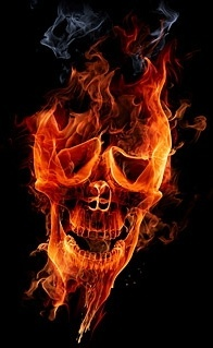 burning skull picture