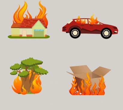 burnt objects isolation car house tree box icons