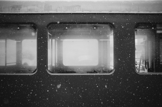 bus cold mist snow transport vehicle window winter