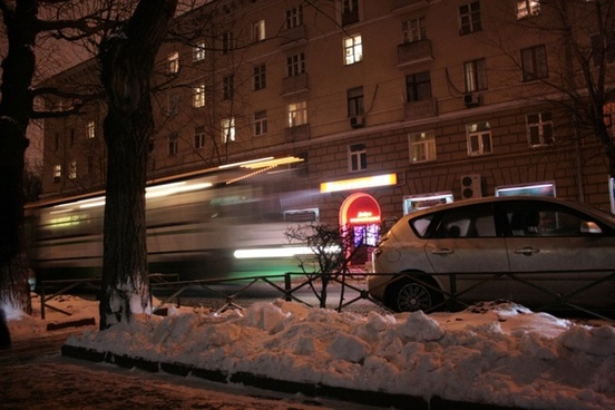 bus on the night street