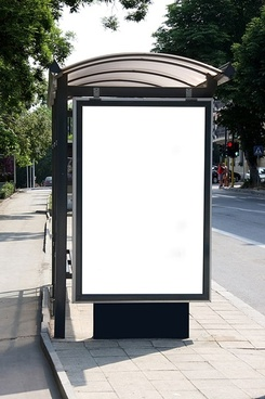 bus shelter billboards blank template picture
