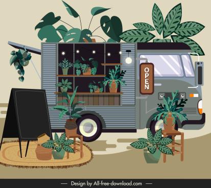 bus store decor template elegant colored vintage design