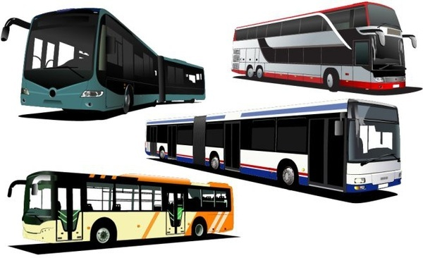 modern bus icons colored 3d design