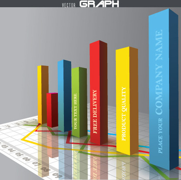 business 3d graph vector