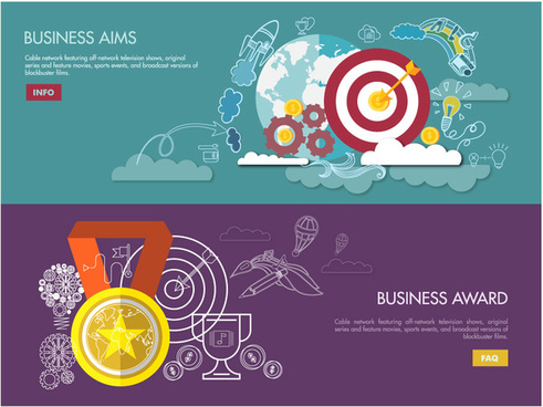 business aims and award illustration on flat design