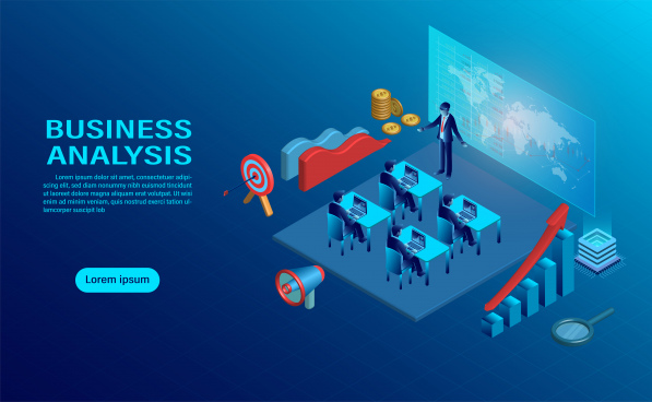 business analysis concept with character creative interactive workspace development workplace infographic of analysing strategy engine flat design isometric