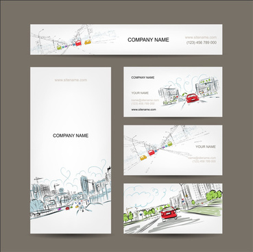 business art cards cars on city road for your design