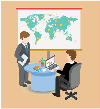 business assignment vector illustration with flat office design