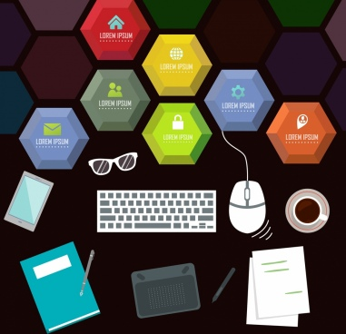 business backdrop modern tools icons colorful polygonal decor