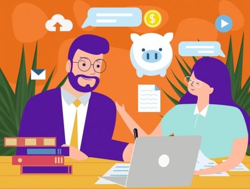 business background meeting staffs icon cartoon design