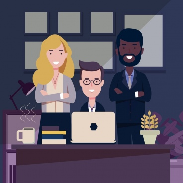 business background meeting staffs icons cartoon design