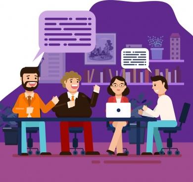 business background meeting staffs speech bubbles cartoon characters
