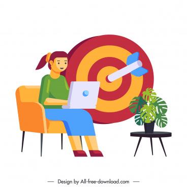 business background staff arrow target sketch cartoon design