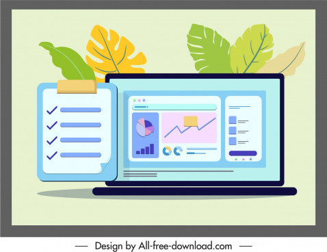 business background template laptop sketch colorful flat design