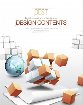 business background template modern dynamic 3d cubes globe