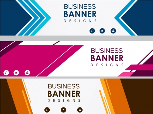 business banner sets colored modern design