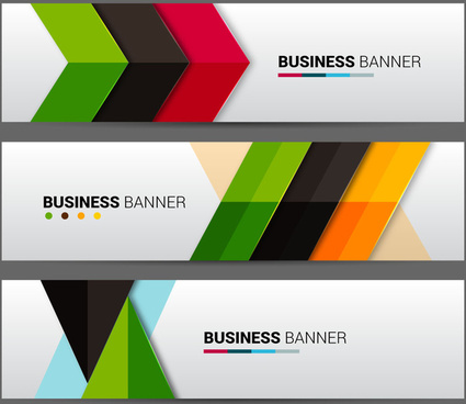 business banner sets with colorful arrows background
