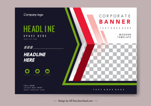 business banner template contrast design elegant checkered decor