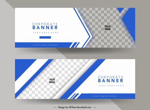 business banner template elegant bright blue checkered decor